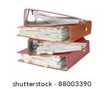 stack of office folders, isolated on white background - stock photo