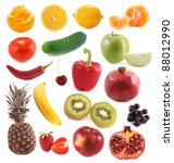 set of vegetables and fruit | Shutterstock . vector #88012990