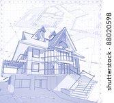 3d house  vector technical draw.... | Shutterstock . vector #88020598