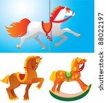Toy Horses Isolated On White...