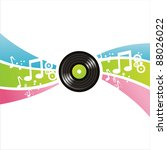 colorful musical vinyl record... | Shutterstock .eps vector #88026022