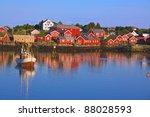Reine, picturesque fishing village on Lofoten, Norway - stock photo