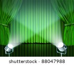 Theater Stage With Spotlights...