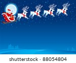 sledge with santa claus. vector ... | Shutterstock .eps vector #88054804
