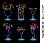 neon alcoholic drinks | Shutterstock .eps vector #88079689