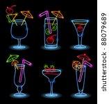 neon alcoholic drinks | Shutterstock .eps vector #88079689