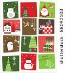 vector   christmas card with... | Shutterstock .eps vector #88092103