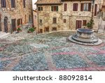 ancient square with water well... | Shutterstock . vector #88092814