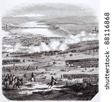 Battle of Austerlitz old illustration, After plans kept in military archives, published on Magasin Pittoresque, Paris, 1844
