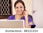 happy indian businesswoman... | Shutterstock . vector #88121314