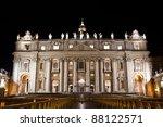 St. Peter's Basilica at night. - stock photo