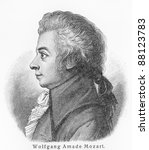 Small photo of Wolfgang Amadeus Mozart - Picture from Meyers Lexicon books written in German language. Collection of 21 volumes published between 1905 and 1909.