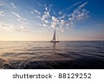 Lonely Yacht With White Sail I...
