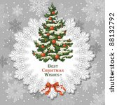vintage christmas card with...   Shutterstock .eps vector #88132792