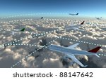 Airline flying sky map idea for enjoy the holiday lifestyle with comfortable airline services. - stock photo
