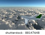 Aircraft fly over the cloud explain the holiday tourism.Enjoy the travel leisure time. - stock photo