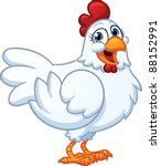 Happy White Hen. Vector...