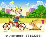 boy and dog riding a bicycle | Shutterstock .eps vector #88163398