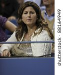 NEW YORK - AUGUST 29: Mirka Federer Vavrinec attends 1st round match between Roger Federer of Switzerland & Santiago Giraldo of Columbia at US Open on August 29, 2011 in NYC - stock photo