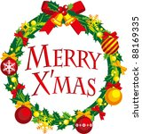 christmas wreath   Shutterstock .eps vector #88169335