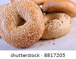 Fresh Baked Bagels Close-up - stock photo