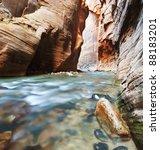 Virgin River Narrows in  Zion National Park, Utah, USA - stock photo