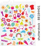 various cute retro stickers on... | Shutterstock .eps vector #88184401