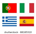 flags of the PIGS (Portugal, Italy, Greece, Spain), countries of the Euro zone facing the worst financial crisis - stock photo