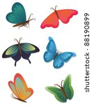 Set Of Bright Butterflies...