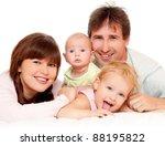 young  happy family indoors | Shutterstock . vector #88195822