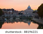 St. Peter's Basilica looking towards Vatican City, in the evening after sunset. - stock photo