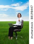 portrait of happy businesswoman showing thumbs up - stock photo