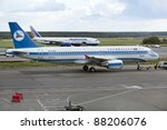MOSCOW, RUSSIA - SEPT 17: Azal aircraft parks at Moscow airport Domodedovo on Sept. 17, 2011. Azerbaijan Airlines is the national carrier of Azerbaijan with a main base in the Baku International Airport. - stock photo