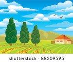 Vector Summer Green Landscape...