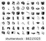 black white 3d icon set 63... | Shutterstock .eps vector #88215325