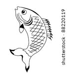vector silhouette fish on white ...