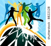 silhouettes dancing on a rainbow | Shutterstock .eps vector #8822128