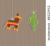 pinata and cactus hanging... | Shutterstock .eps vector #88222912