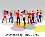 group of boys and girls dancing ... | Shutterstock . vector #88224757