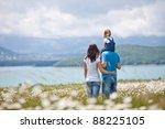 happy family having fun outdoors | Shutterstock . vector #88225105