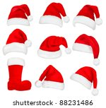 Big Set Of Red Santa Hats And...