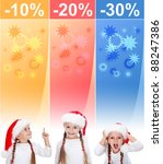 Crazy christmas sale banners with increasingly excited little girl - stock photo