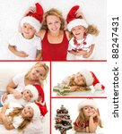 Happy christmas people collage smiling and having fun - stock photo