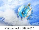 Blue Glass Christmas Balls On A ...