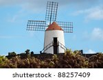 Typical Windmill on Lanzarote - stock photo