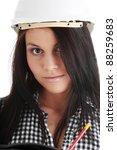 engineer woman in white helmet... | Shutterstock . vector #88259683