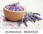 bowl of lavender bath salt with ... | Shutterstock . vector #88264210