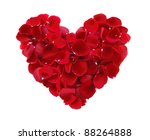 Stock photo beautiful heart of red rose petals isolated on white 88264888