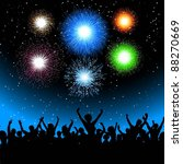 excited audience with fireworks ... | Shutterstock .eps vector #88270669