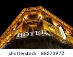 Illuminated Hotel Sign Taken At ...